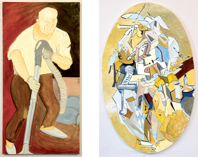 Left: Picasso does the vacuuming  18″ × 36″  Right: Picasso does the vac­u­um­ing (cubist) 25″ × 40″ (oval)