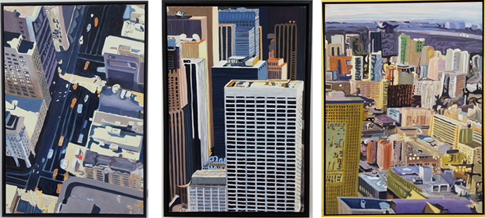 """Left: Blue N.Y. 24""""x 36″   Center:Pin Stripe 24""""x 30″   Right:T.O. Boogie 30""""x 40″"""