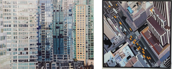 "Left: Van­cou­ver Mosaic  Right: Edge of Empire 30""x 30″"