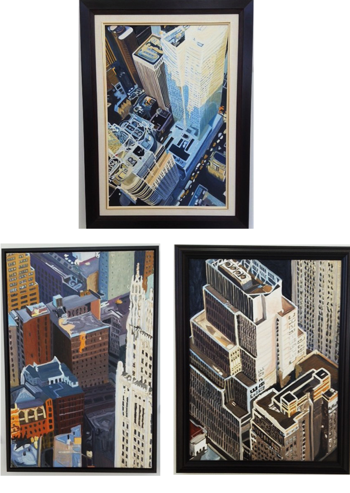 "Above: Grid and Van­ish 22""x 28″ Left: Bavaria 24″ x 36″ Right: Por­trait 24″ x 30″"